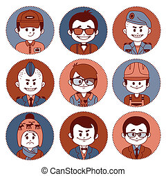 Set icons with characters Different professions - Set icons...