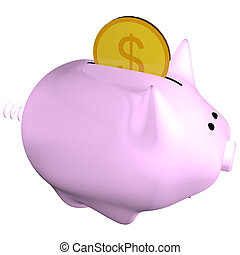 Piggy-bank - Pink Piggy-Bank with money getting inside the...