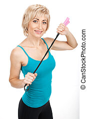 blond woman holding jumping rope aged lady closeup view...