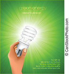 hand holding energy saving light bulb with rays