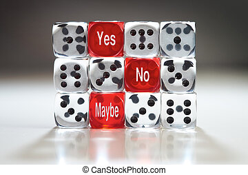 Dice Concept - Chance concept, three red dice with Yes, No...