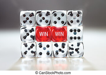 Wall of Dice - Win Win concept with two red dice supported...