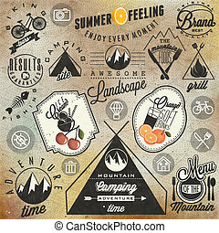 Retro vintage style symbols - For Mountain Expedition:...