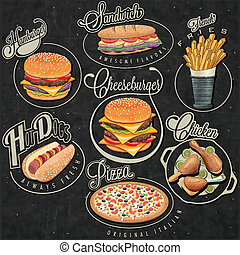 Retro vintage style fast food - Set of Calligraphic titles...