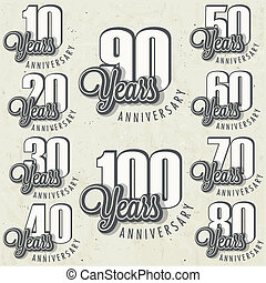 Anniversary sign collection - And cards design in retro...