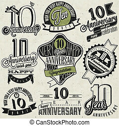 Vintage style 10 anniversary - Ten anniversary design in...