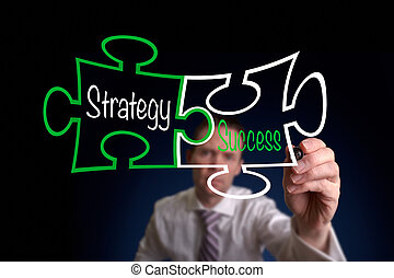 Strategy And Success - A Businessman drawing a strategy...