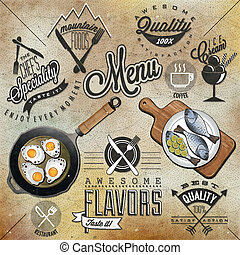 Retro vintage style restaurant menu - Set of Calligraphic...