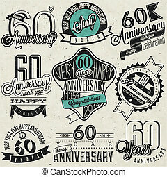 Vintage style 60th anniversary - Sixty anniversary design in...
