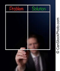 Problem Solution Lists - Businessman's hand writing a...