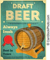 Beer Poster - Draft Beer Retro Poster in Vintage Design...
