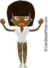 cartoon woman with raised hands