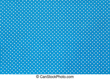 Fabric textile with dots pattern - Blue and White Tiny Polka...