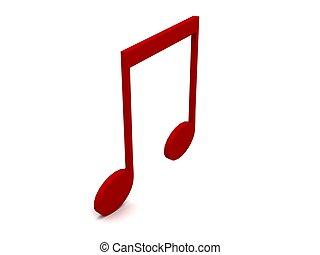three dimensional red musical notation - three dimensional...