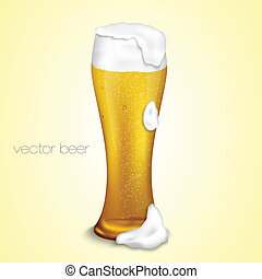 light beer with the foam in a glass