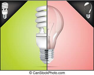 energy saving light bulb in infographic