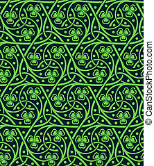 seamless pattern with shamrock - vector celtic ornamental...