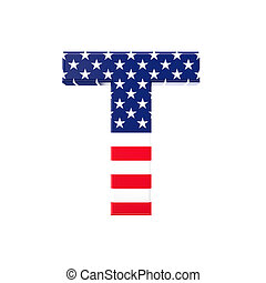 old glory font - 3d image of usa font letter on white...