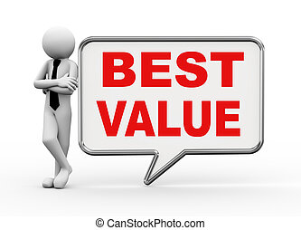 3d businessman with speech bubble - best value