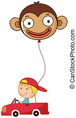 A red car with a boy and a monkey balloon - Illustration of...
