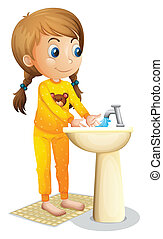 A cute young girl washing her hands - Illustration of a cute...