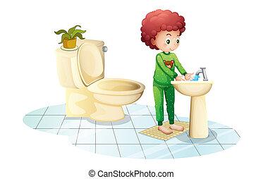 seu, lavando, jovem, homem, mãos