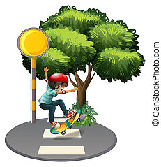 A young gentleman playing at the pedestrian lane -...