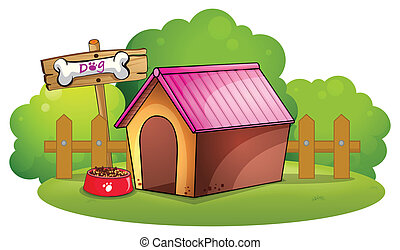 A doghouse near the wooden fence