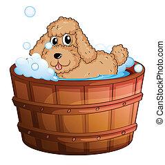 A dog taking a bath - Illustration of a dog taking a bath on...