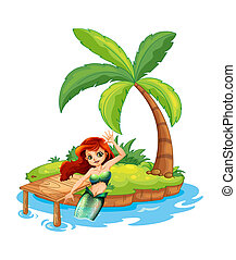 A young mermaid in the island