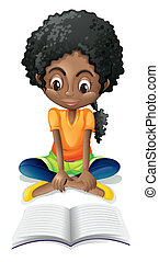 A Black girl reading - Illustration of a Black girl reading...