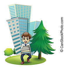 A hardworking man outside the building - Illustration of a...
