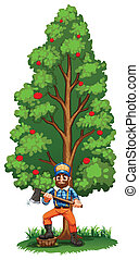 A lumberjack under the tall tree - Illustration of a...