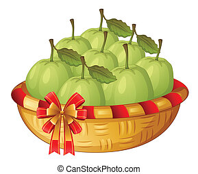 A basket of guavas - Illustration of a basket of guavas on a...