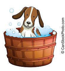 A dog taking a bath at the bathtub - Illustration of a dog...