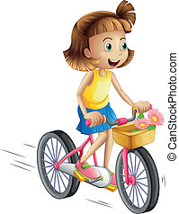 A happy girl riding a bike - Illustration of a happy girl...