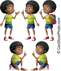 Five Black boys - Illustration of the five Black boys on a...