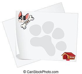 Empty paper templates with a dog