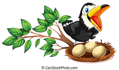 A black bird watching the nest with eggs - Illustration of a...