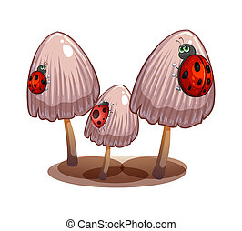 Three mushrooms with ladybugs - Illustration of the three...