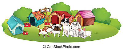 Dogs outside their houses - Illustration of the dogs outside...
