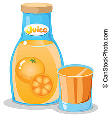 A bottle of orange juice - Illustration of a bottle of...