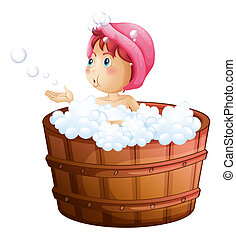 A young girl playing with the bubbles while taking a bath -...