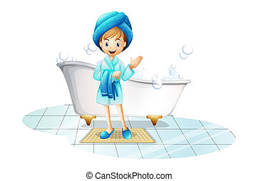 A happy girl wearing a blue robe and a blue shower cap