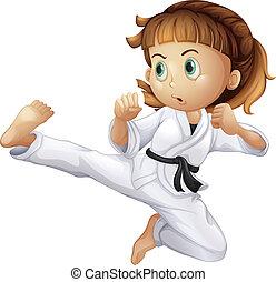 Un, valiente, joven, niña, karate
