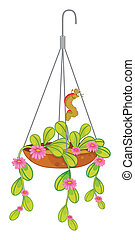 A hanging plant with flowers