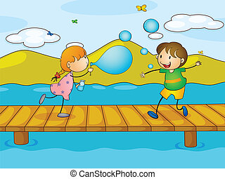Kids playing at the bridge - Illustration of the kids...