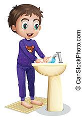 Menino, seu, lavando, mãos