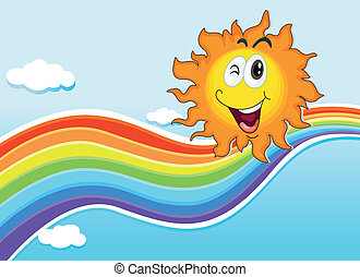 A smiling sun near the rainbow - Illustration of a smiling...