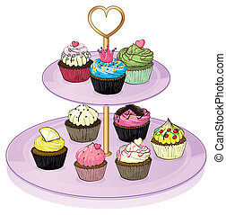 Cupcakes in the cupcake tray - Illustration of the cupcakes...